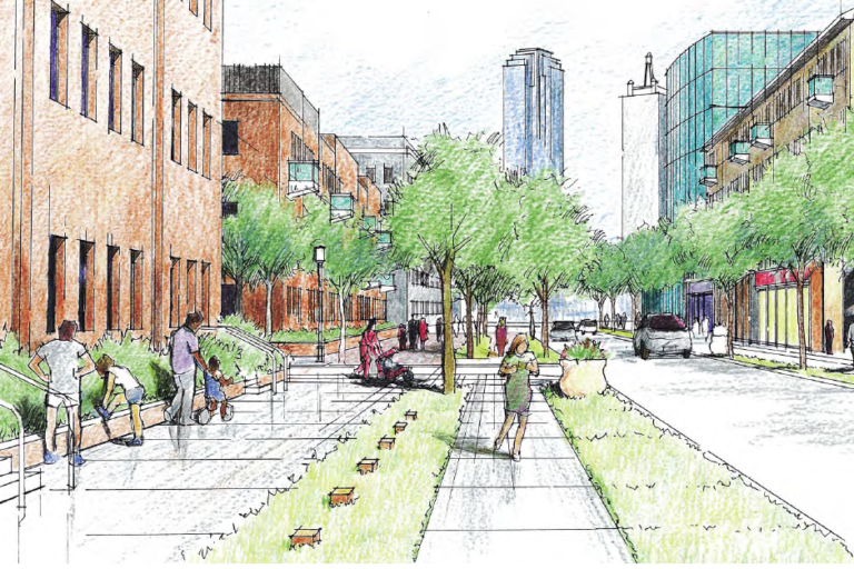 A re-imagined Browder Street, in the Cedars. (From TxDOT's CityMAP study.)